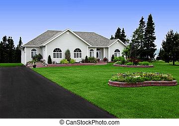 niejaki, świeżo, constructed, nowoczesny, wiejski, dom