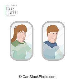 niejaki, człowiek, i, niejaki, kobieta przeglądnięcie, poza, przedimek określony przed rzeczownikami, airplane okno, płaski, vector.