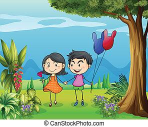 niejaki, dziewczyna, i, niejaki, chłopiec, datując, w ogrodzie