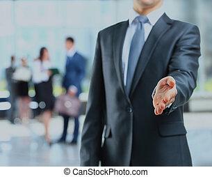 niejaki, handlowiec, z, na, otwarta ręka, gotowy, do, znak, niejaki, deal.