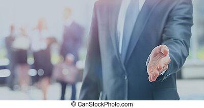 niejaki, handlowiec, z, na, otwarta ręka, gotowy, do, znak, niejaki, transakcja
