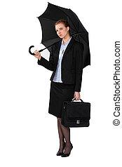 niejaki, kobieta interesu, z, niejaki, umbrella.