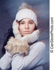 niejaki, kobieta, w, ciepły, zima, clothes.