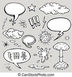 niejaki, komplet, od, komik, bańki, i, elementy, z, halftone, cienie