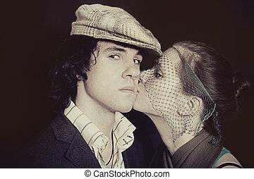 niejaki, młody, całowanie, para, zakochany, closeup