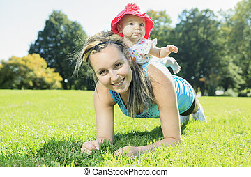 niejaki, macierz, trening, z, niemowlę, na, niejaki, letni dzień