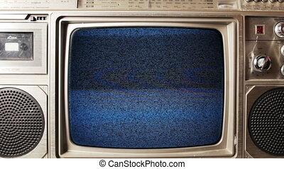 niejaki, retro, getto blaster, z, built-in, telewizja