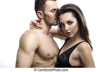 niejaki, sexy, młody, topless, para biorąca w objęcia, w, dżinsy