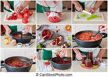 niejaki, stopniowo, collage, od, zrobienie, pomidor, dżem