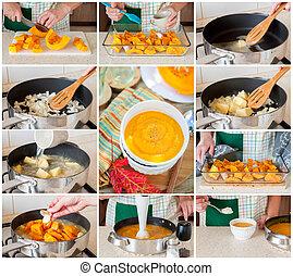 niejaki, stopniowo, collage, od, zrobienie, zupa dyni