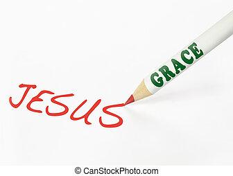 niejaki, wdzięk, naklejona etykietka, ołówek, pisanie, przedimek określony przed rzeczownikami, słowo, jezus