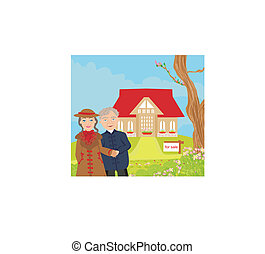 niejaki, wektor, ilustracja, od, cielna, piękny, nowoczesny, dom, z, dla sprzedaży znaczą