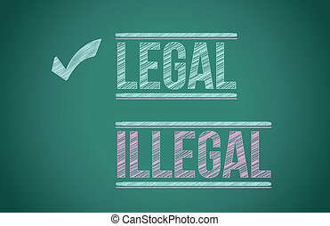 nielegalny, vs, prawny, ilustracja