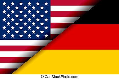 niemcy, podzielony, bandery, diagonalno, usa