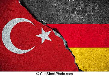 niemcy, vs, indyk, czerwony, indycza bandera, na, złamany,...