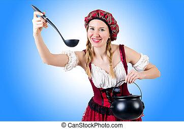 niemiec, tradycyjny, kobieta, młody, kostium