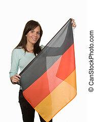 niemiecka bandera, kobieta, młody