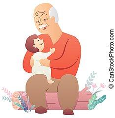 niemowlę, biały, dziadek
