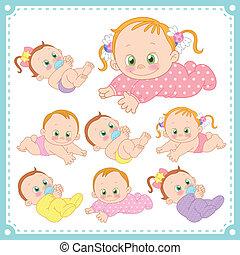 niemowlę chłopieje, wektor, dziewczyny, ilustracja