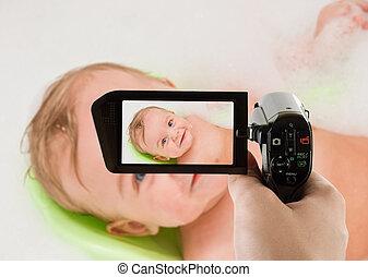 niemowlę, czysty, szczęśliwy