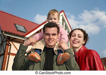 niemowlę, dom, 2, rodzina