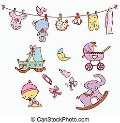 niemowlę, doodle, obiekt, zbiór