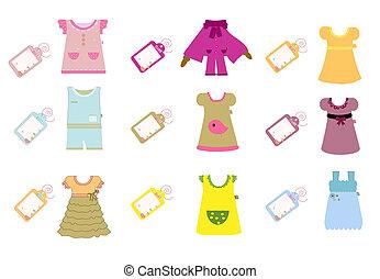 niemowlę, dzieci, zbiór, odzież
