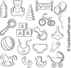 niemowlę, dziecinny, sketched, dzieciństwo, ikony
