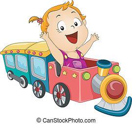 niemowlę, dziewczyna, pociąg
