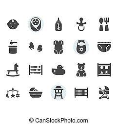 niemowlę, ikona, komplet, symbol, powinowaty