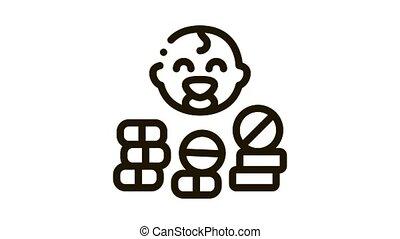 niemowlę, ikona, pigułki, ożywienie, troska