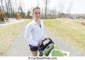 niemowlę, jogging, trening, macierz