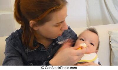 niemowlę, karmi, macierz