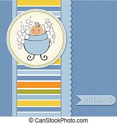 niemowlę, karta, przelotny deszcz, romantyk