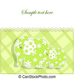 niemowlę, karta, słonie