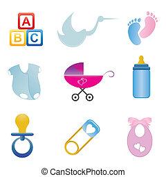 niemowlę, komplet, powinowaty, ikona
