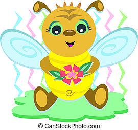 niemowlę, kwiat, pszczoła