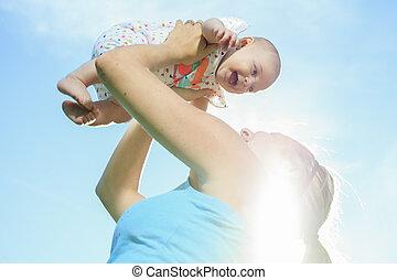 niemowlę, lato, trening dzień, macierz