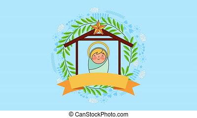 niemowlę, litera, boże narodzenie, wesoły, jezus
