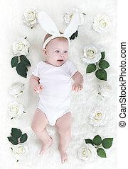 niemowlę, mały, kapelusz, królik, dziecko