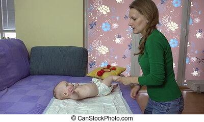 niemowlę, mamusia, ruch