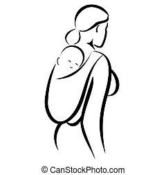 niemowlę, mamusia, w, podwieszka