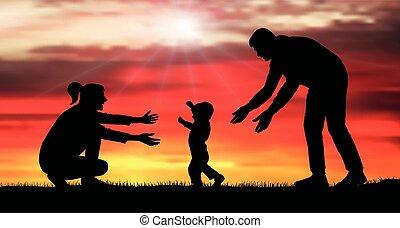 niemowlę, mask), mom., rodzina, wektor, illustration., sylwetka, (clipping, pierwszy, steps., wypadek, idzie