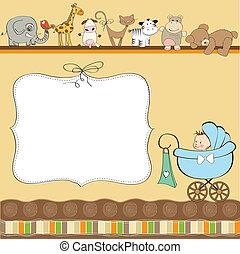 niemowlę, nowy, chłopiec, karta, zawiadomienie