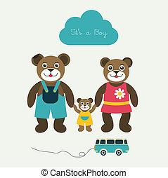 niemowlę, nowy, papier, card., urodzony