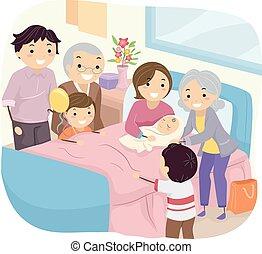 niemowlę, nowy, stickman, rodzina