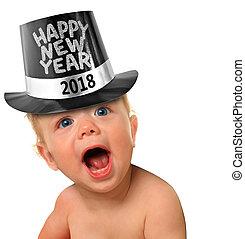 niemowlę, nowy, szczęśliwy, rok