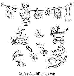 niemowlę, obiekt, doodle