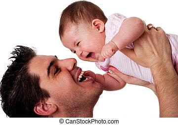 niemowlę, ojciec, córka, śmiech, szczęśliwy