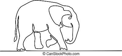niemowlę, pieszy, symbol, słoń